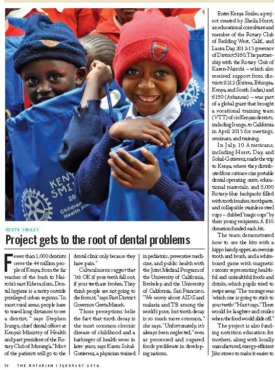 Kenya Smiles, The Rotarian, February 2014_Page_1